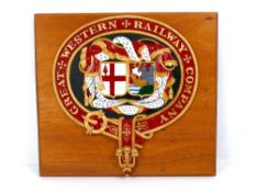 GWR railway interest - large metal and painted replica crest 'Great Western Railway Company',