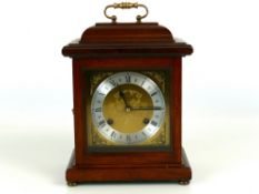 "Mahogany cased Woodford Franz Hermle bracket clock, 9.4"" high (key)"