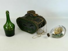 "Scratch-built wooden toy tank marked 'Xmas 1944', 12"" x 9""; together with an early Haig Dimple"