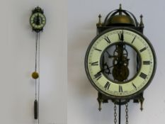 "West German Tempus Fugit skeleton wall clock, passing strike, approx 9"" x 6"" (good working order)"