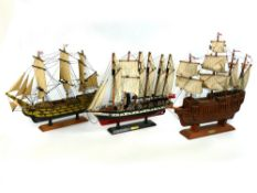Collection of wooden model sailing ships - Mary Rose, SS Great Britain and HMS Victory, all approx