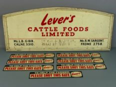 "Arched wooden red and cream painted sign board for 'Lever's Cattle Foods Limited', 38"" x 15.5"";"