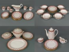 Very large collection of Spode Fleur de Lys red table ware, Y7481-F, consisting of large meat