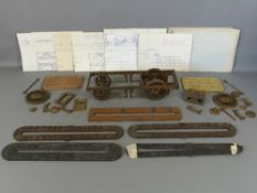 "Fire Fly railway interest - iron driving wheels section, 15"" long and other parts including plates"