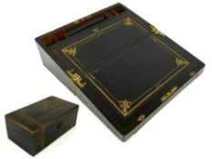 "Victorian brass bound rosewood writing box with gilt tooled leather slope (minor fault), 7"" high,"