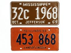 1969 USA Illinois car number plate 453 868; together with a similar date plate 32C 1968, from