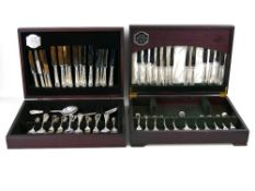 Two canteens of G H Butler Kitemark Collection matching silver plated cutlery, consisting of