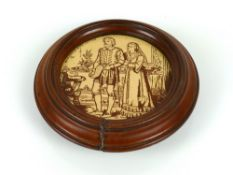 Victorian Mintons Hollin & Co circular tile depicting a Shakespearean scene from the Merchant of