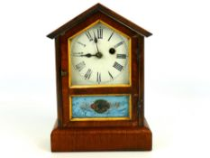 "Mahogany cased Teutonia pendulum shelf clock, enamel face, Roman numerals dial, 11"" tall (key) ("