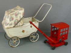 "Tri-ang toy crane, approx 20"" x 11""; together with a Tri-ang doll's pram, approx 26"" x 18"" (2)"