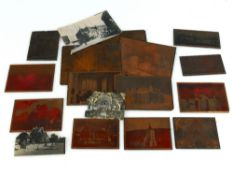 Interesting collection of antique copper photography plates, predominately of architectural interest