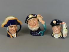 "Good collection of vintage Royal Doulton character jugs - Lord Nelson, D6336, 7.5"" high, Old Salt,"