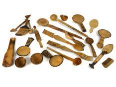 Large collection of vintage primitive wooden spoons, ladles, bowls etc (22 items)