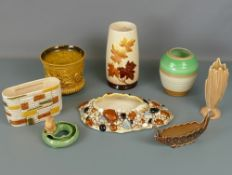 Collection of mid century glazed ceramic vases and planters including examples by Sylvac, Shelley,