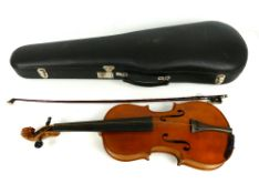 "French 4/4 violin, back measures 14 1/16th"", bow and case"