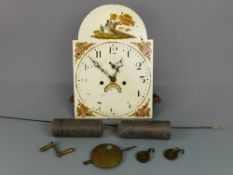 "Antique longcase clock movement, striking on a bell with painted arched dial, 17.5"" x 12"" and"