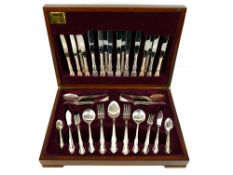 Viners 'Buckingham' mahogany cased canteen of silver plated cutlery, eight places, eighty-four