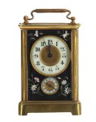 Rare carriage clock timepiece with alarm and Pietra dura floral panels, the movement striking on a
