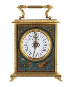 """Carriage clock timepiece with alarm, the 2.5"""" white dial within a panelled case painted with birds"""