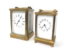 Large carriage clock timepiece stamped with the Drocourt trademark logo on the back plate, the