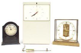 Interesting German electric master wall clock by Telefonbau Normalzeit, the rectangular dial plate