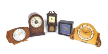 """Bulle electric mantel clock, the 4.5"""" silvered dial with skeletonised centre, within a mahogany"""