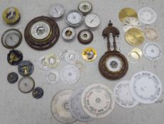 Quantity of various small barometer and barometer parts including dials and cases etc.