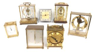"""Garrard Precision electric mantel clock, no. 1109, within a brass case, 5.5"""" high; also six other"""