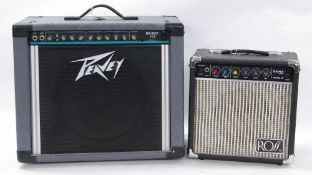 Peavey Bravo 112 guitar amplifier, made in USA; together with a Ross Fame Series Model 10 practice