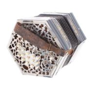 Three row Anglo concertina, with thirty-two bone buttons on pierced metal ends, five-fold bellows,