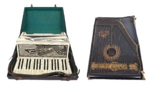 Ravenna Settimio Soprano piano accordion with forty-eight buttons, white marble finish, case; also