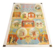 Chromolithographic coloured poster on linen circa 1910, inscribed Hermanos Roca Musicales, printed