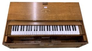 Wooden cased portable piano keyboard inscribed 'The Triumph de Lure, Salvationist Publishing and