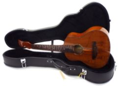 Alulu GUK guitar ukulele, in need of a new set of tuners, within a contemporary hard case