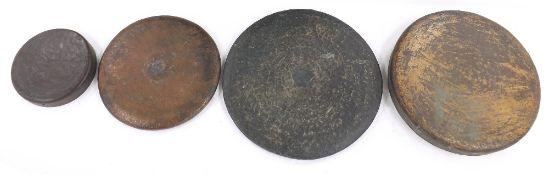"Four various gongs/ tam-tams, largest 25"" diameter (4)"