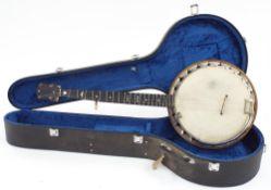 "J.G. Abbott & Co no. 2 five string resonator banjo, with 11"" diameter skin and 25"" scale, hard case"