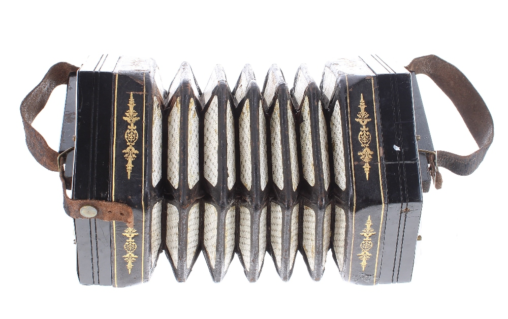 Three row Anglo concertina, with thirty-two bone buttons on pierced metal ends, five-fold bellows, - Image 2 of 3