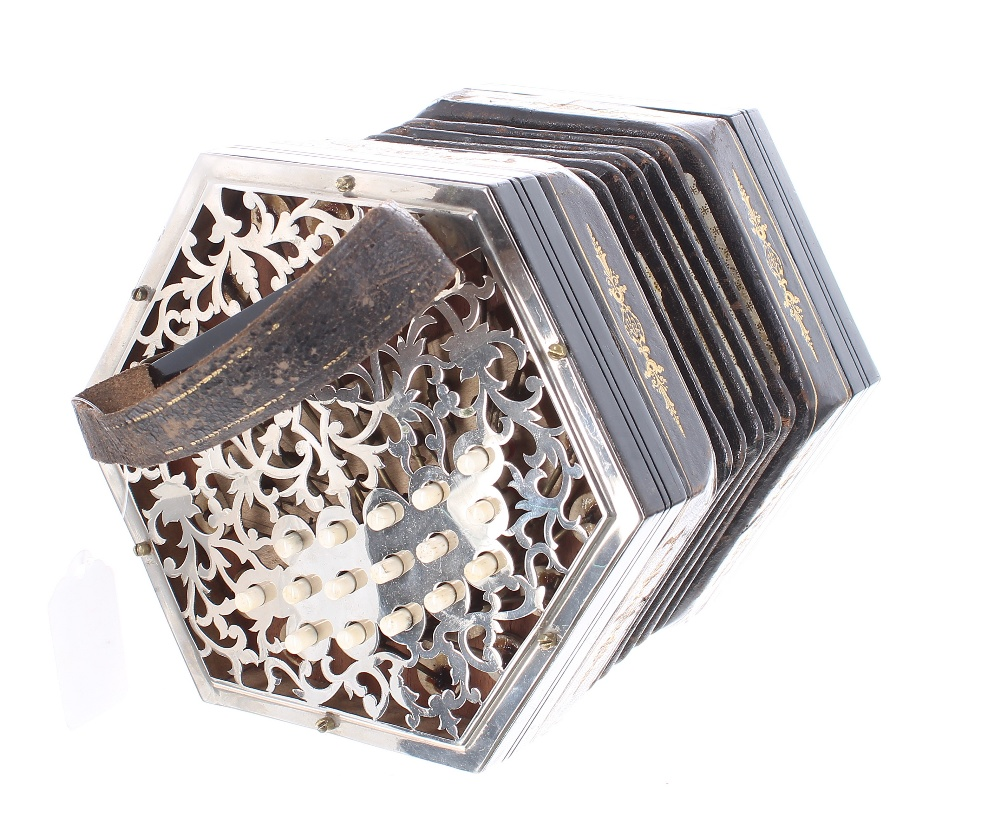 Three row Anglo concertina, with thirty-two bone buttons on pierced metal ends, five-fold bellows, - Image 3 of 3