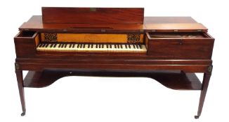 Square piano by John Broadwood & Son, London 1803, the case of mahogany, the lid with double