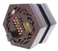Lachenal & Co English concertina, with forty-eight bone buttons on pierced rosewood ends, four-