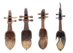 Four antique and later Nepalese Sarangi (4)