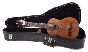 Stuart Longridge hybrid six string left-handed ukulele, within a semi-rigid case