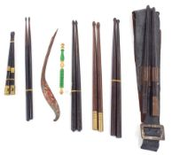 Selection of interesting antique drumsticks to include a civil war drum sling and sticks (six