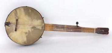 Rare six string fretless minstrel banjo, circa 1850, with geometric Tunbridge Ware inlay to the
