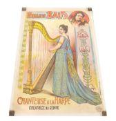 Chromolithographic coloured poster on linen circa 1900, inscribed Fernande Balfa, Chanteuse a la