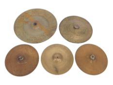"""Five various single brass cymbals, varying in size from 11 5/8"""" to 18"""" (5)"""