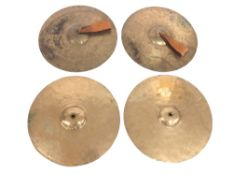 """Two pairs of old brass cymbals, 14 1/2"""" diameter (4)"""
