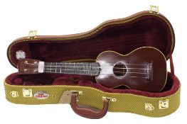 Pre-war C.F. Martin & Co Style 2 soprano ukulele, within a contemporary tweed hard case