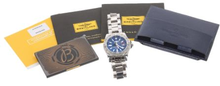 Breitling Avenger II GMT automatic stainless steel gentleman's bracelet watch, ref. A32390, no.