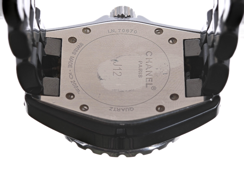 Chanel J12 black ceramic and stainless steel lady's bracelet watch, no. I.N. 70xxx, black dial - Image 2 of 2